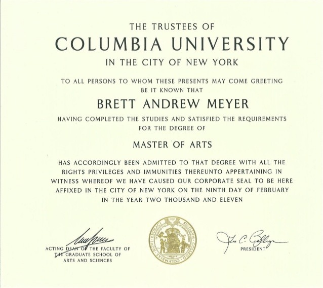 What Font Does Columbia University Use In Its Diploma
